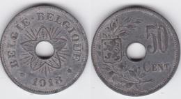 LOT 048  ALBERT Ier  50 CENTIMES  ZINC TYPE OCCUPATION 1918  Flamande/Française - 1909-1934: Albert I