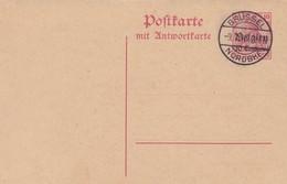 Carte Entier Postal Poftkarte Mit Antwortkarte Oc 3 Brussel Norddbhf. - Pas De Cachet Sur La Carte Réponse - Weltkrieg 1914-18
