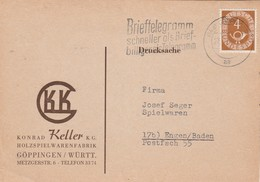 Allemagne Drucksache Carte Postale Commerciale Entête K Keller GOPPINGEN 25/2/1952 à Engen - [7] République Fédérale