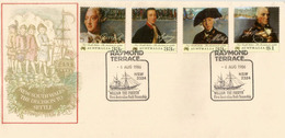 Explorateurs De L'Australie: Capitaine Phillip,Capitaine Hunter,Lord Sydney,etc. Série 4 Timbres Bicentenaire Sur Lettre - Explorateurs