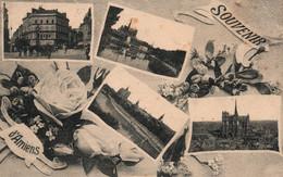Souvenir D'Amiens - Multivues Avec Rose: Cathédrale, Place Gambetta... - Gruss Aus.../ Gruesse Aus...