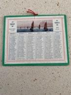CALENDRIER 1931   DIM : 13 Cm / 10 Cm - Petit Format : 1921-40