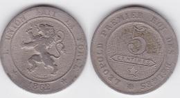 LOT 023  BELGIQUE LEOPOLD  Ier  5 CENTIMES  1862 - 1831-1865: Leopold I