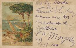 Henri Ganier Tanconville Affiche PLM  Cannes . Pionnière 1900. Gare De La Roche 1900 . 2 Timbres Type Groupe. Salie - Luneville