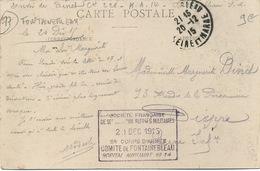 Cachet Militaire : 77 FONTAINEBLEAU - Guerre De 1914-18
