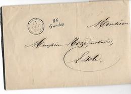 GORDES Vaucluse Cursive 86 GORDES + Petit Cachet 21.10.1853+2 Griffes PP Noire Et Rouge Faire Part Deuil MOULIN NotairG - Marcophilie (Lettres)