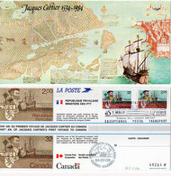 """Excptional Postal Transpot (Carte Souvenir) - Emission Commune """"France-Canada"""" Jacques Cartier  (Divers 37) - Zonder Classificatie"""