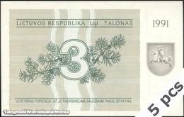 TWN - LITHUANIA 33b - 3 Talonu 1991 DEALERS LOT X 5 - Prefix AV UNC - Lituanie