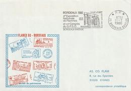 """Env. De """"Bordeaux Bastide - 33, Gironde"""" Du 11-02-1980, """"1980, FLAMEX Et Congrès Du GPSO"""" En P.P. - Annullamenti Meccanici (pubblicitari)"""