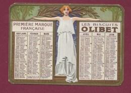 010420 - Calendrier Petit Format Gaufré 1907 Biscuits OLIBET - Art Nouveau - Calendriers