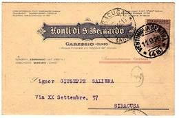 """CARTOLINA INTEST.""""FONTI DI S. BERNARDO""""GARESSIO CUNEO AMM. ONEGLIA.BOLLO AMB.""""VENTIMIGLIA-GENOVA 11-9-26"""" - Pubblicitari"""