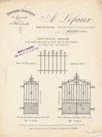 FA  1781  FACTURE   -PUB  SERRURERIE ARTISTIQUE A. LEFAUX   POISSY - France