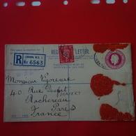 LETTRE LONDON RECOMMANDE REGISTRATION POUR PARIS 1937 - 1902-1951 (Kings)