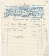 FA  1811 -  FACTURE   -  FABRIQUE DE CEINTURES HYGIENIQUES  ALEXANDRE JOUSSE  PARIS - 1900 – 1949