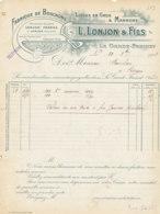 FA  1835 -  FACTURE      - FABRIQUE DE BOUCHONS  L. LONJON & FILS  LA GARDE FREINET   VAR - 1900 – 1949