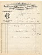 FA  1836 -  FACTURE      - CONSTRUCTIONS MECANIQUES & AUTOMOBILES  SURESNES - 1900 – 1949