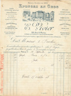 FA  1838 -  FACTURE      - EPONGES EN GROS E.  VIVIER PARIS - 1900 – 1949
