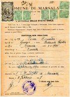 1947 MUNICIPIO DI MARSALA  CON MARCHE COMUNALI - Fiscali