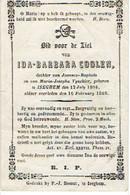 IZEGEM -Ida Barbara COOLEN (dochter Van J.B. En M. VYNCKIER) - Geboren 1804 En Overleden 1869 - Devotieprenten