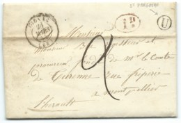 MARQUE POSTALE GIGNAC POUR MONTPELLIER / 1845 / TAXE / BOITE RURALE U ST PARGOIRE - 1801-1848: Vorläufer XIX