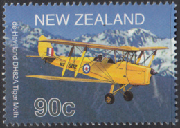 New Zealand 2001 MNH Sc 1716 90c DeHavilland DH82A Tiger Moth Airplane - Unused Stamps