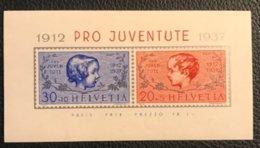 Schweiz Pro Juventute 1937 Block Zumstein-Nr. 83I+84I * Ungebraucht Mit Kleinem Falz - Pro Juventute