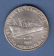 Cuba / Kuba 1984 Silbermünze Frachtschiff  Handelsflotte  - Münzen