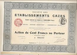 Action Etablissements CAZES à Courbevoie 92 (moteurs Verticaux Pour Automobiles, Autobus Et Locomotives) - 1910 - Automobile