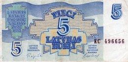 LATVIA 5 LATVIAN RUBLI 1992 P-37   CIRC - Lettonie