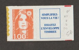 Variétés - 1996  - Type Briat  -  N° 3009 A  -  1 F Orange -   Avec Vignette  - 1 Bde De Phosphore -   Adhésif        - - Variétés Et Curiosités