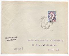 """1967 --cachet Commémoratif """" FOIRE COMMERCIALE--NANTES-44 """"...type Marianne De Decaris--mention  IMPRIMES - Marcophilie (Lettres)"""