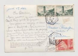 C.P 1958 -  DEPART ANDORRE POUR LA FRANCE AFFRANCHISSEMENT N° YT 140 & YT 142 - Lettres & Documents