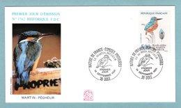 FDC France 1991 - Espèces Protégées - Martin Pêcheur - YT 2724 - 39 Dole - FDC