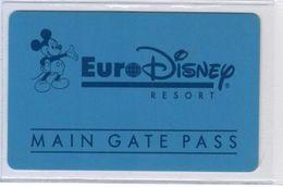 Euro Disney Resort - Main Gate Pass - RARE - Voir Scans - Pasaportes Disney