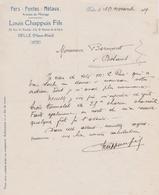 DELLE 90 FERRAILLEUR ( LOUIS CHAPPUIS ET FILS RUE ST NICOLAS ET AVENUE DE LA GARE ) COURRIER DE 1919 - Non Classificati