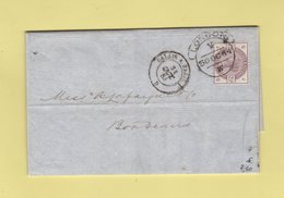 Grande Bretagne - Londres - 30 Oct 1884 - Destination France - Entree Ambulant Calais A Paris D - Briefe U. Dokumente