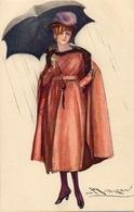 Illustrateur Mauzan - Femme Sous Parapluie - Mauzan, L.A.