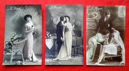 3 CPA Fantaisie/ Couple - Passé, Présent, Avenir - Couples