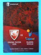 CRVENA ZVEZDA Vs CAJASOL SEVILLA - 2012 EUROCUP Basketball Programme * Basket-ball Pallacanestro Baloncesto Spain Espana - Sports