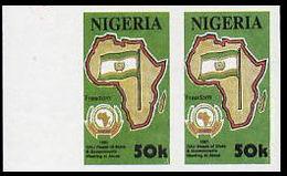 NIGERIA 1991 OAU Flag 50k MARG.IMPERF.PAIR - Francobolli