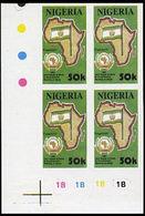 NIGERIA 1991 OAU Flag 50k CORNER IMPERF.4-BLOCK - Francobolli