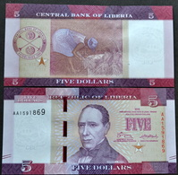 Liberia 5 Dollars 2016 P-31a UNC CURRENCY BANKNOTE Afrika Papiergeld - Liberia