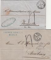 ENTREE / LOT DE 2 X LAC 1859 BASEL ET 1861 ZURICH TAXE TAMPON 4 => ALSACE - Poststempel (Briefe)