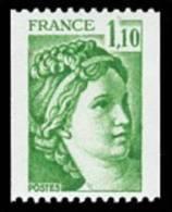 France Sabine De Gandon N° 2062 ** Le 1fr10 Vert Roulette - 1977-81 Sabine Of Gandon