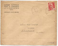 GANDON N° 721 SEUL LETTRE NOGENT S SEINE 10.7.1947 RARE USAGE TRES COURT - 1945-54 Marianne De Gandon