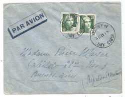 GANDON 20FR GRAVEX2 LETTRE AVION PARIS XVII 4.1.1947 POUR ARGENTINE AU TARIF - 1945-54 Marianne De Gandon