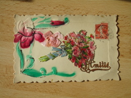 Belle Carte  Fantaisie    Amitie Bouquet Oeillet   Chromo Decoupi Pochoir - Fantasie