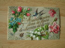 Belle Carte  Fantaisie  Support Celluloid   Rose Hirondelle Messagere  Chromo Decoupi - Fantasie