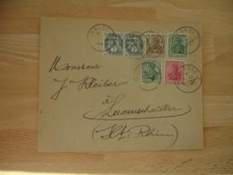 01.01.1919 Lettre Affranchissement Mixte Allemand Et Francais Timbre  Obliteration Provisoire - 1877-1920: Semi-Moderne