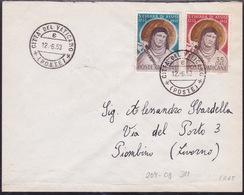 Vatican, 1953, S. Chiara  Di Assisi, FDC, Mailed (horizontal Crease Along Lower Margin) - FDC